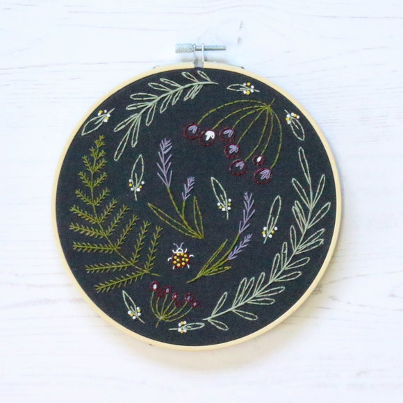 Hawthorn Handmade Embroidery Kit - Wildwood in Black