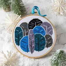 Hawthorn Handmade Cross Stitch - Winter Trees