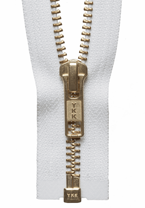Brass Open Ended Zip 30cm Col 501 White