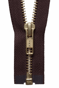 Brass Open Ended Zip 30cm Col 570 Brown