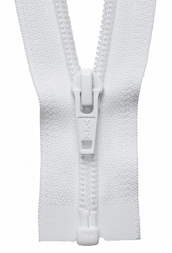Nylon Chunky Open Ended Zip 56cm Col 501 White