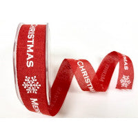 Ribbon 25mm Faux Linen Red with White Merry Christmas Snowflake