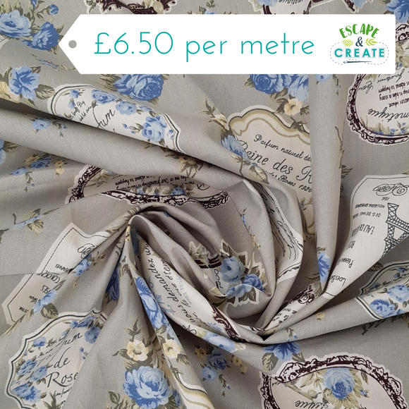 Cotton Poplin Print - Vintage Labels and Flowers on Grey