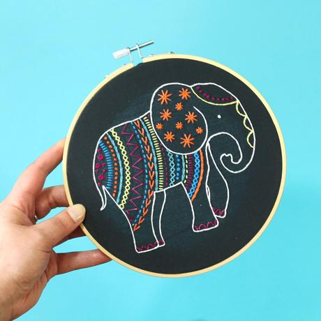 Elephant on Black by Hawthorn Handmade
