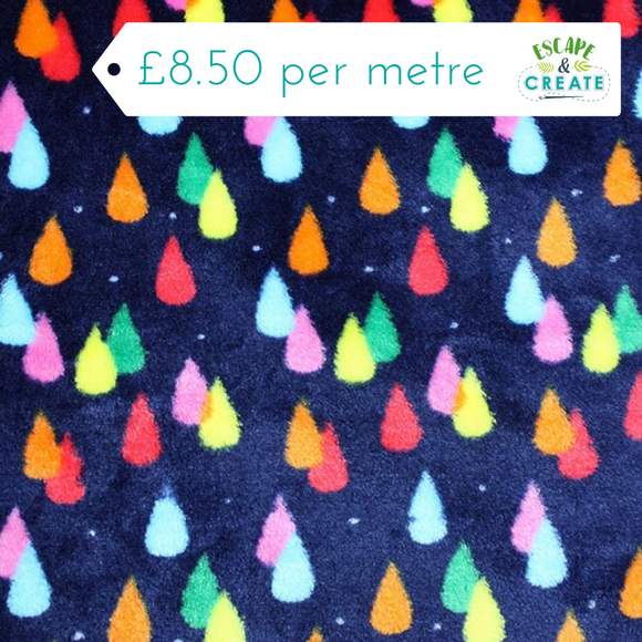 Fleece Rainbow of Raindrops on Navy Cuddle Fleece