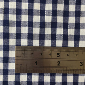 "Gingham 1/4"" 100% Cotton in Navy (140cm wide)"