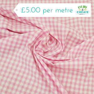 "Gingham 1/4"" 100% Cotton in Pink (110cm wide)"