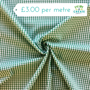 "Gingham 1/8"" Polycotton in Green (110cm wide)"