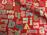Alphabet on Red 100% Cotton Poplin