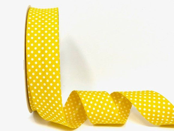 Bias Binding 30mm 100% Cotton Yellow with White Polka Dots