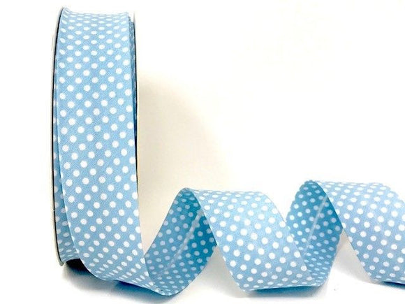 Bias Binding 30mm 100% Cotton Blue with White Polka Dots
