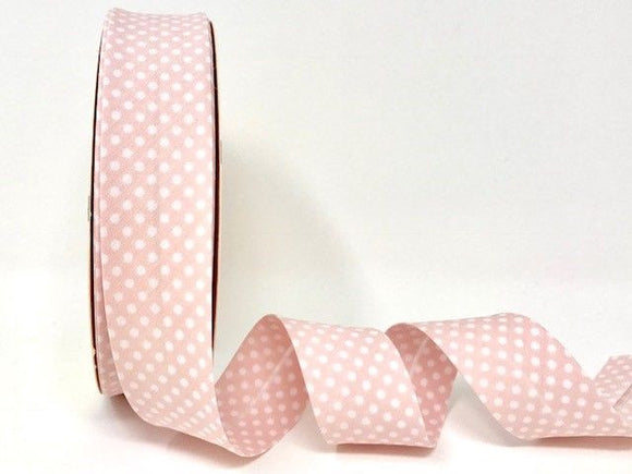 Bias Binding 30mm 100% Cotton Pale Pink with White Polka Dots