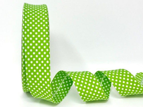 Bias Binding 30mm 100% Cotton Lime Green with White Polka Dots