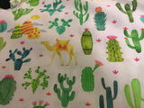 Cactus on White 100% Cotton Poplin