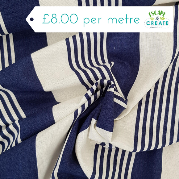 Linen Blend - Navy Blue Deckchair Stripe