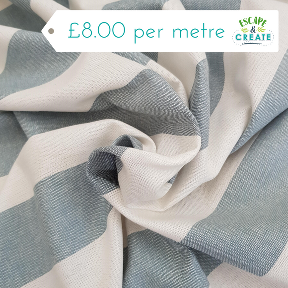Linen Blend - Pale Blue/White Wide Stripe