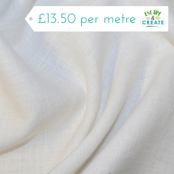 Linen 100% - Enzyme Washed - Plain White