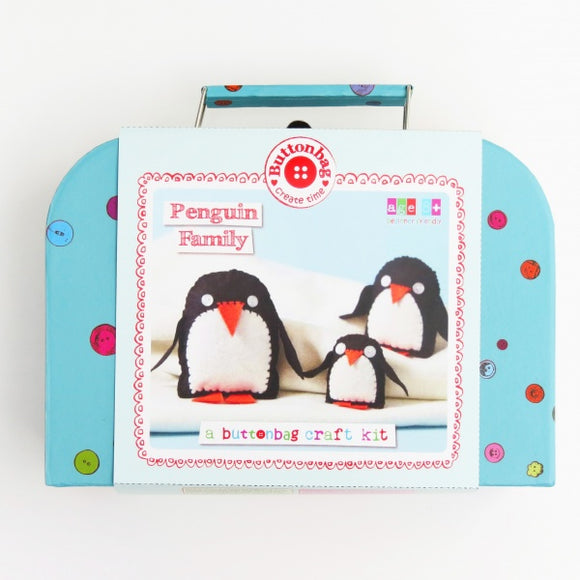 Button Bag Sewing Kit - Penguin Family