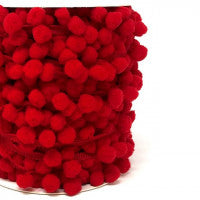 Pom Pom Trim 15mm in Red