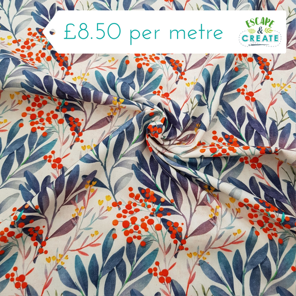 Cotton Poplin Floral Berry