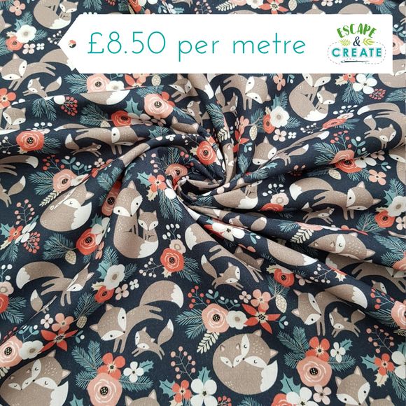 Cotton Poplin Foxes Floral Navy