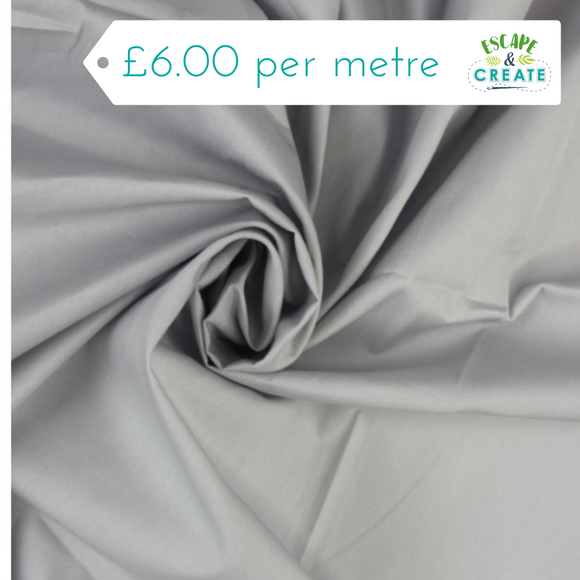 Cotton Poplin Plain in Silver
