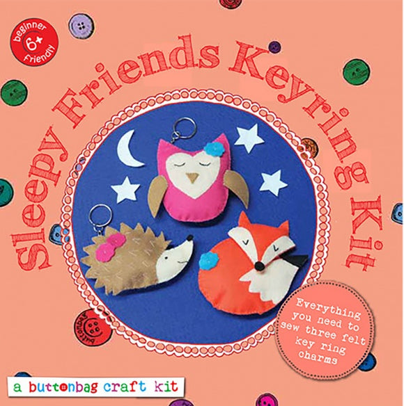 Button Bag Sewing Kit - Sleepy Friends Keyring