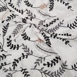 Cotton Embroidered Black/Grey Leaves on White