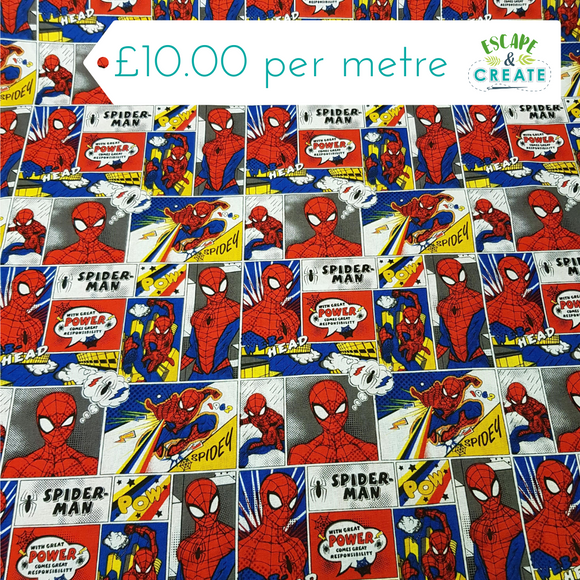 Spiderman Comic Strip Licensed 100% Cotton