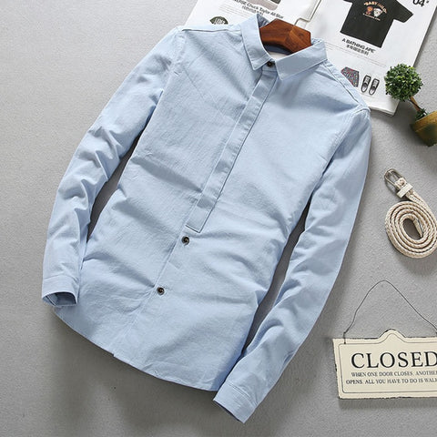 Triple-Buttoned Casual Linen Shirt