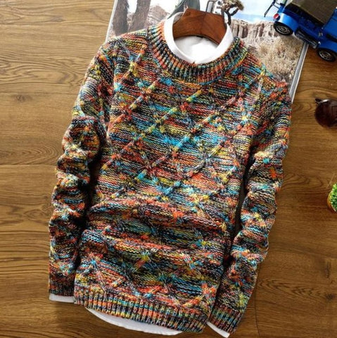 Rainbow Blended Geometric Knitted Sweater