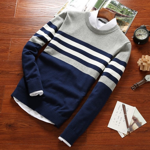 Tri-Colored Striped Sweater