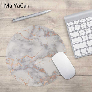 MaiYaCa Rosegold Pink on Marble New Small Size Round Mouse Pad Non-Skid Rubber Pad 200X200X2mm and 220X220mm