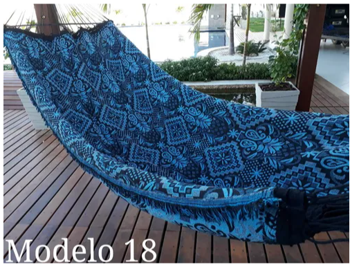 Brazilian Hammock Blue Indiana Pattern - 13 ft by 5 ft - 2 Person Luxury Handmade Woven Cotton