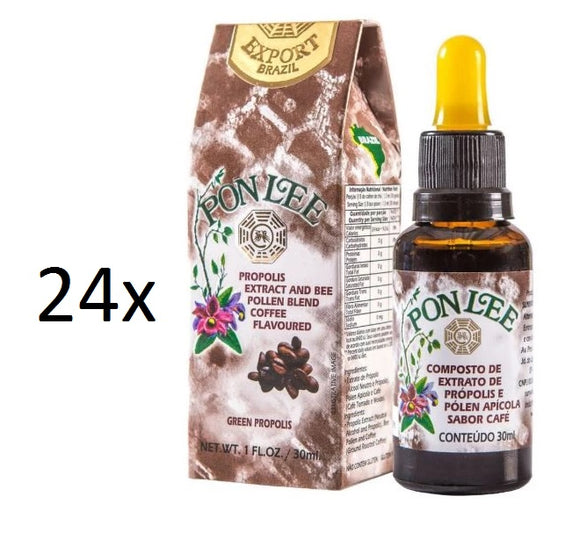 Lot of 24x30ml Pollen Bee Alcoholic Propolis Extract Coffee Flavor - Pon Lee