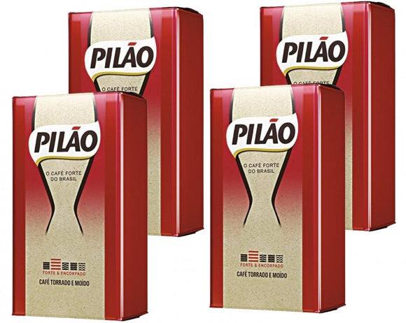 Roasted Ground Coffee Vacuum-Sealed 500g PILÃO (Pack of 4)