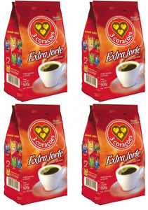 Roasted Ground Coffee Extra Strong 500g 3 CORAÇÕES (Pack of 4)