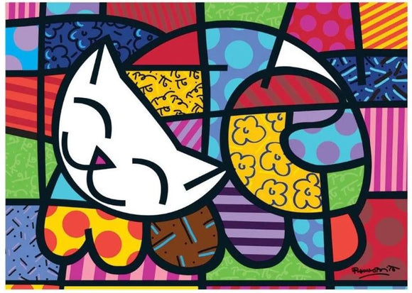 Brazilian Original Puzzle Grow 1000 Pieces Romero Britto Cat Jigsaw Decoration