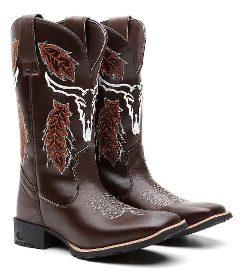 Brazilian Original Leather Shoes Cowhide Texan Boot Male Cow Face Country