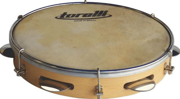 Brazilian Original Torelli TP340 Capoeira Music Tambourine 10 Wood Animal Skin