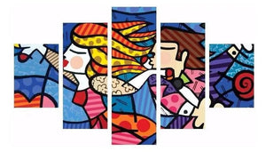 Brazilian Original Romero Britto Abstract Painting Wooden Wall Frame 200x100
