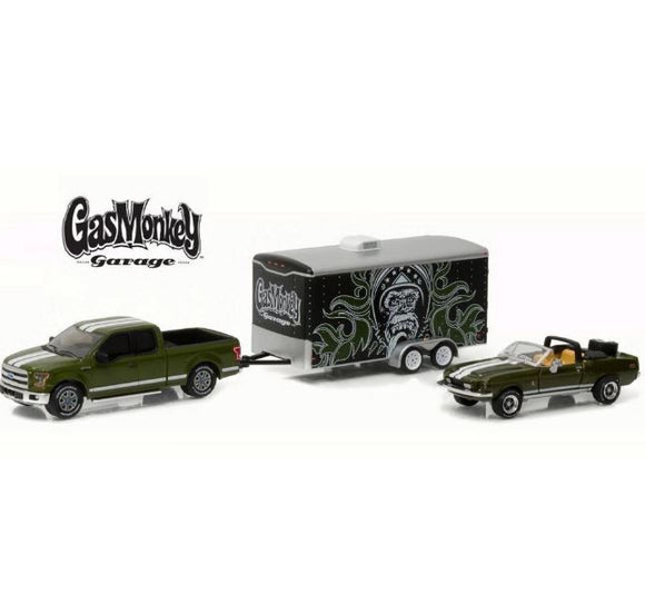 Gasmonkey Ford F-150 + Shelby Gt + 1:64 Greenlight Trailer Miniature Collection
