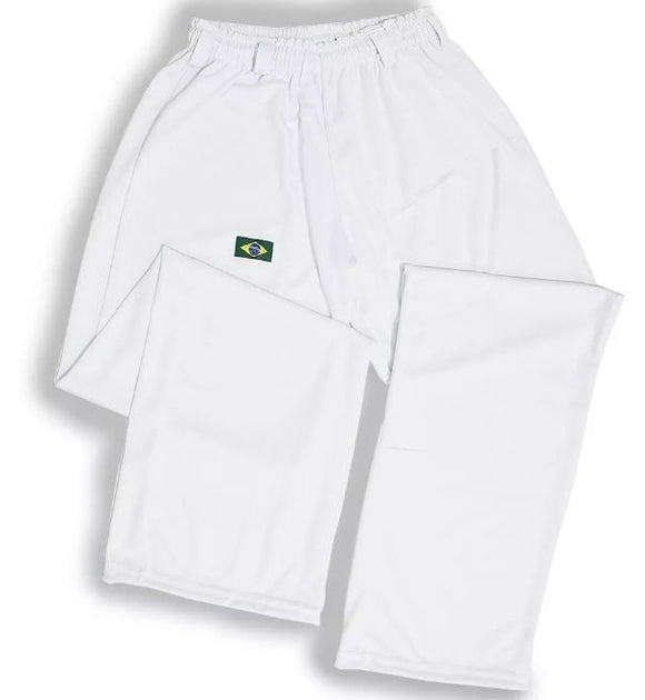Brazilian Unissex Original Helanca Polyamid Capoeira White Pants Yoga Pilates