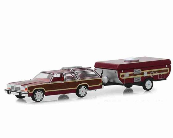 Ford LTD Country Squire 1981 Camper Trailer 1:64 Greenlight Miniature Collection