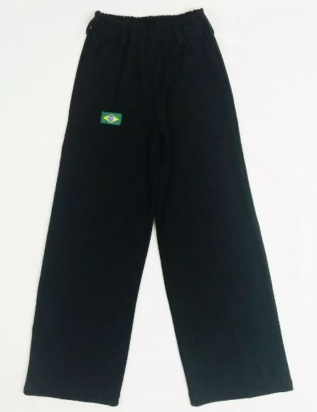 Brazilian Unissex Original Helanca Polyamid Capoeira Black Pants Yoga Pilates