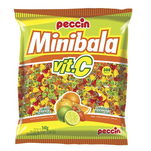 Brazilian Original Minibala Vitamina C Candy Sweet Citric Fruits 540g - Peccin