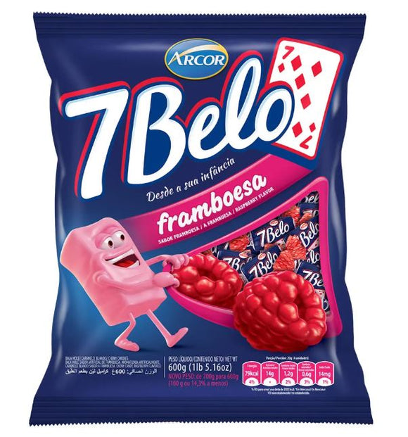 Brazilian Original 7 Belo Candy Raspberry Sweet Traditional 600g package - Arcor