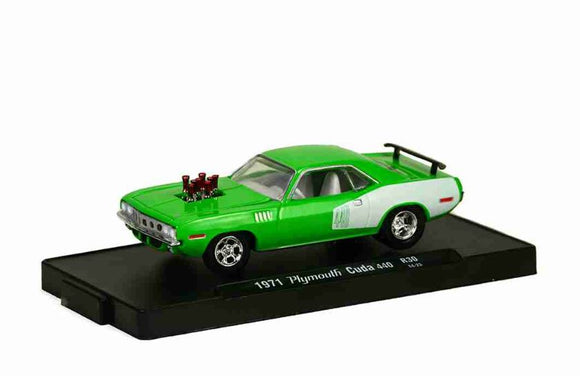 Plymouth Cuda 440 1971 Green Auto-drivers 1:64 M2 Machines Miniature Collection