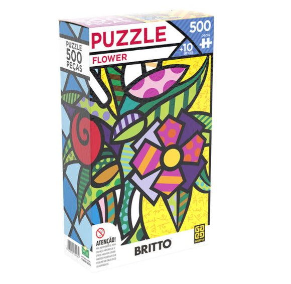 Brazilian Romero Britto Flower Puzzle 500 Pieces Jigsaw Collectible Decoration