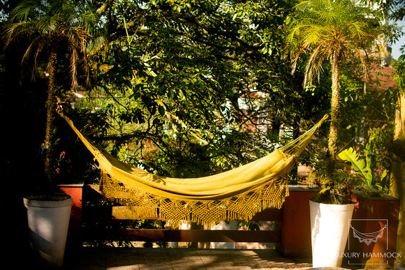 Double Hammock Mustard Pattern - 13 ft by 5 ft - Premium Brazilian Handmade Woven Cotton